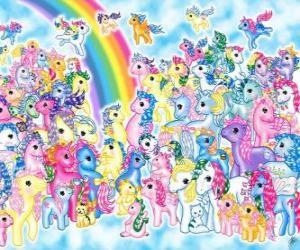 Rompicapo di molti pony con arcobaleno. Mio mini pony