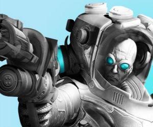 Rompicapo di Mr. Freeze con la sua pistola de freddo. Lo scienziato male è un nemico di Batman