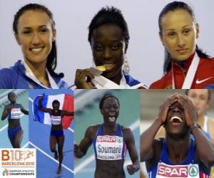 Rompicapo di Myriam campione Soumaré a 200 m, e Alexandra Bryzhina Yelizabeta Fedora (2 ° e 3 °) del Barcellona Campionati europei di atletica leggera 2010