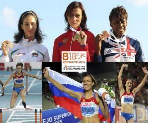 Rompicapo di Natalia Antiuj campione 400m ostacoli, Vania Stambolova e Perri Shakes-Drayton (2 ° e 3 °) di atletica leggera Campionati europei di Barcellona 2010