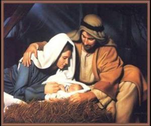 Rompicapo di Natività - Il Gesù Bambino con Maria sua madre e suo padre Giuseppe