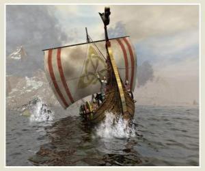 Rompicapo di Nave vichinga o Drakkar a vela gonfiata dal vento