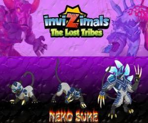 Rompicapo di Neko Suke, ultima evoluzione. Invizimals Le Tribù Scomparse. Questo invizimal furtivo è un maestro dell'inganno