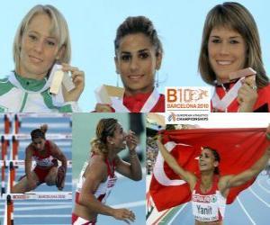 Rompicapo di Nevin Yanit campionessa nei 100 ostacoli, Derval O'Rourke e Carolin Nytra (2 ° e 3 °) di atletica leggera Campionati europei di Barcellona 2010