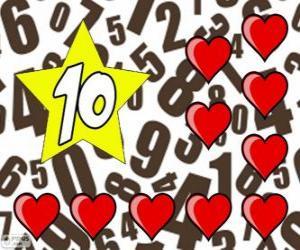 Rompicapo di Numero 10 in una stella con dieci cuori