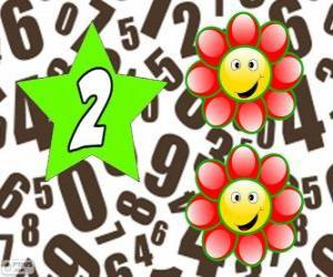 Rompicapo di Numero 2 in una stella con due fiori