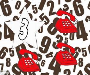 Rompicapo di Numero 3, in une stelle con tre telefoni