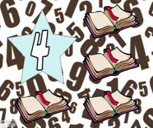 Rompicapo di Numero 4 in una stella con quattro libri aperti