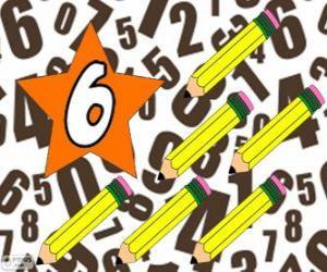 Rompicapo di Numero 6 in una stella con sei matite