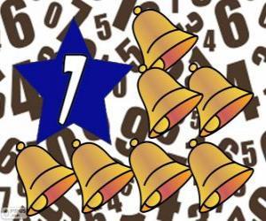 Rompicapo di Numero 7 all'interno di una stella con sette campane