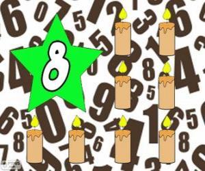 Rompicapo di Numero 8, in una stella con otto candele