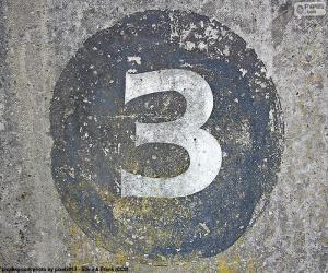 Rompicapo di Numero tre bianco