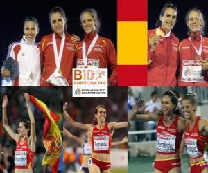 Rompicapo di Nuria Fernandez campione a 1500 m, Hind Dehiba e Natalia Rodriguez (2 ° e 3 °) di atletica leggera Campionati europei di Barcellona 2010