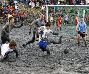 Rompicapo di Olimpiadi di fango, o Wattolumpiad, stanno combattendo nelle paludi del fiume Elba