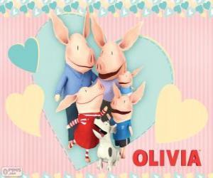 Rompicapo di Olivia il maialino con la sua famiglia