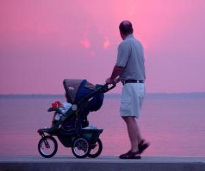 Rompicapo di Padre camminando con suo figlio accanto al mare