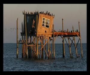 Rompicapo di Palafita con capanna per i pescatori, la costruzione supportato su palafitte nel lago