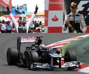 Rompicapo di Pastor Maldonado celebra la sua vittoria nel Gran Premio di Spagna (2012)