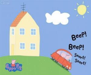 Rompicapo di Peppa Pig con la sua famiglia in auto
