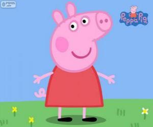 Rompicapo di Peppa Pig con un vestito rosso