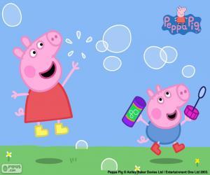 Rompicapo di Peppa Pig e bolle di sapone