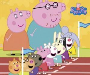 Rompicapo di Peppa Pig e i suoi amici preparati per una carriera