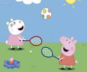 Rompicapo di Peppa Pig, giocare a tennis
