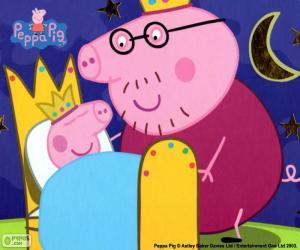 Rompicapo di Peppa Pig sul suo letto