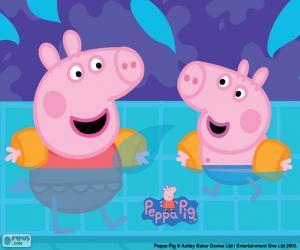 Rompicapo di Peppa Pig va a nuotare