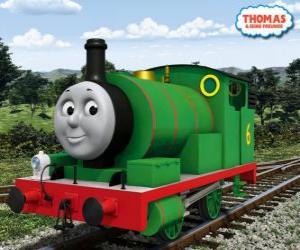 Rompicapo di Percy, il più giovane locomotiva, di colore verde e con il numero 6. Percy è il miglior amico di Thomas