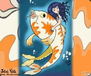 Rompicapo di Pesce e sirena, un disegno di Giulietta