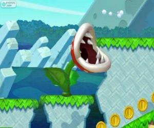 Rompicapo di Pianta Piranha. Fiore Piranha. Pianta carnivora della serie di Mario
