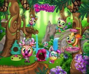 Rompicapo di Pinegrove dove la Zoobles nascondere, correre, nuotare e giocare