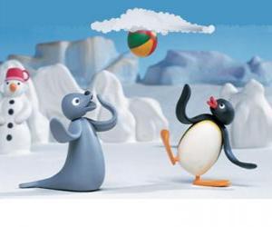 Rompicapo di Pingu e Robby La Foca che giocan con la slitta