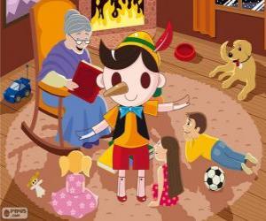 Rompicapo di Pinocchio. Il burattino di legno che diventa un bambino