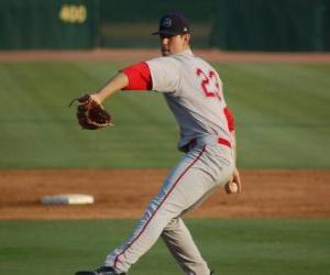 Rompicapo di Pitcher o lanciatore prepara a lanciare la palla