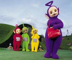 Rompicapo di Po, Laa-Laa, Dipsy e Tinky Winky, con la sua borsa rossa di fronte a casa tua