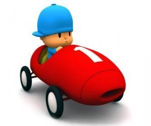 Rompicapo di Pocoyo alla guida di una macchina da corsa