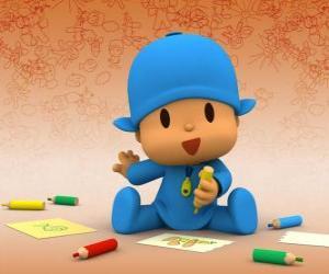 Rompicapo di Pocoyo seduta per terra e fare un disegno su un foglio di carta