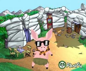 Rompicapo di Pokopet Tork, un maiale con gli occhiali da sole, un animale da Panfu