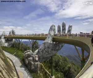 Rompicapo di Ponte dorato di Da Nang, Vietnam