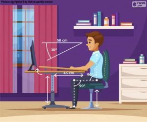 Rompicapo di Posizione corretta davanti al computer