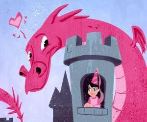 Rompicapo di Principessa nel suo castello sorvegliato da una grande drago