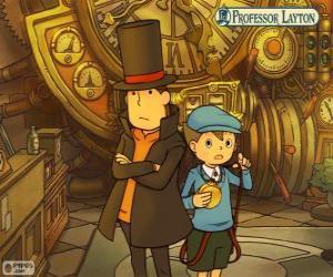 Rompicapo di Professor Layton e il suo assistente Luke Triton, protagonisti dei giochi di mistero e di puzzle per Nintendo