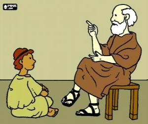 Rompicapo di Professore o un insegnante, seduto su uno sgabello, per insegnare a un giovane ragazzo, seduto sul pavimento