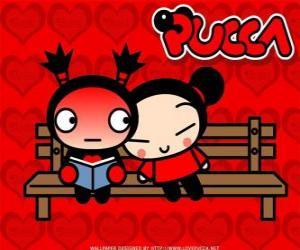 Rompicapo di Pucca e Garu seduta su una panchina del parco