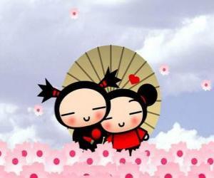 Rompicapo di Pucca e Garu sotto un ombrello