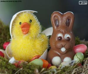 Rompicapo di Pulcino e coniglietto di Pasqua