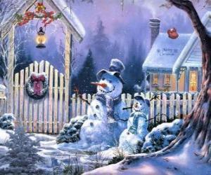Rompicapo di Pupazzi di neve con sciarpe, cappelli