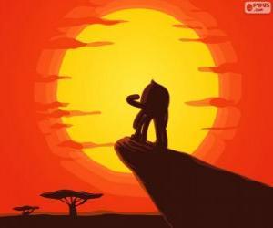 Rompicapo di Pypus presso la roccia del re come Simba, il re leone